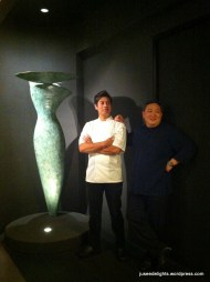 Former Head Chef Akmal Anuar and owner Ignatius Chan in front of sculpture by Italian artist; Iggy's