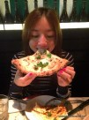 Samantha eating the pizza; Motorino
