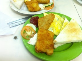 – English Breakfast with Fish Fillet, Fried Egg and Hash Brown with toast; Mai Tak Cafe