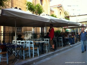 Outdoor seats; Nikitas, Athens, Greece