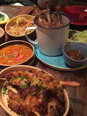 Thai Curry with Lemongrass Cornflakes Chicken, Baby Pork Shanks with Spicy & Sour Sauce; Oldish