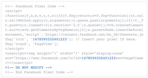 Ejemplo de Píxel de Facebook