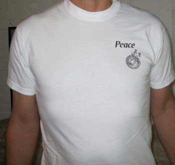 Peace...Just Be it logo   White  s, m, l, xl      $12