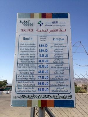Taxipreise Jordanien