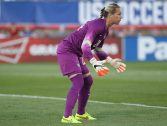EAST HARTFORD, CT - JUNE 19:  Goalkeeper Ashlyn Harris #24 of the United States holds her stance during a women's international friendly match between France and the United States June 19, 2014 at Rentschler Field in East Hartford, Connecticut.(Photo by Gail Oskin/Getty Images)