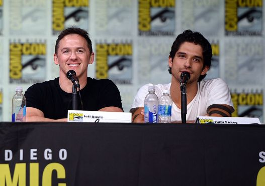 """SAN DIEGO, CA - JULY 21: Writer/executive producer Jeff Davis (L) and actor Tyler Posey attend the """"Teen Wolf"""" panel during Comic-Con International 2016 at San Diego Convention Center on July 21, 2016 in San Diego, California. (Photo by Matt Winkelmeyer/Getty Images)"""