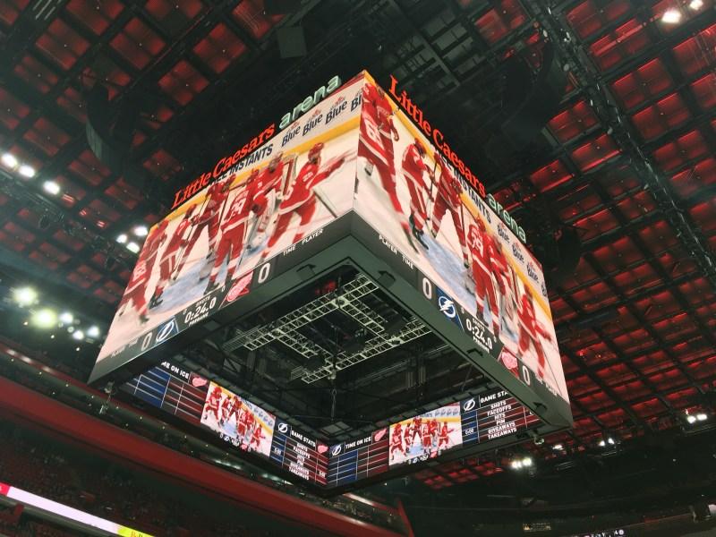 Little Cesar's Arena Scoreboard