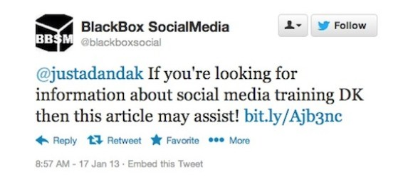 BlackBox SocialMedia automated tweet reply