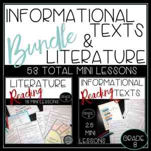 Reading informational and literature texts bundle includes 53 mini lessons.