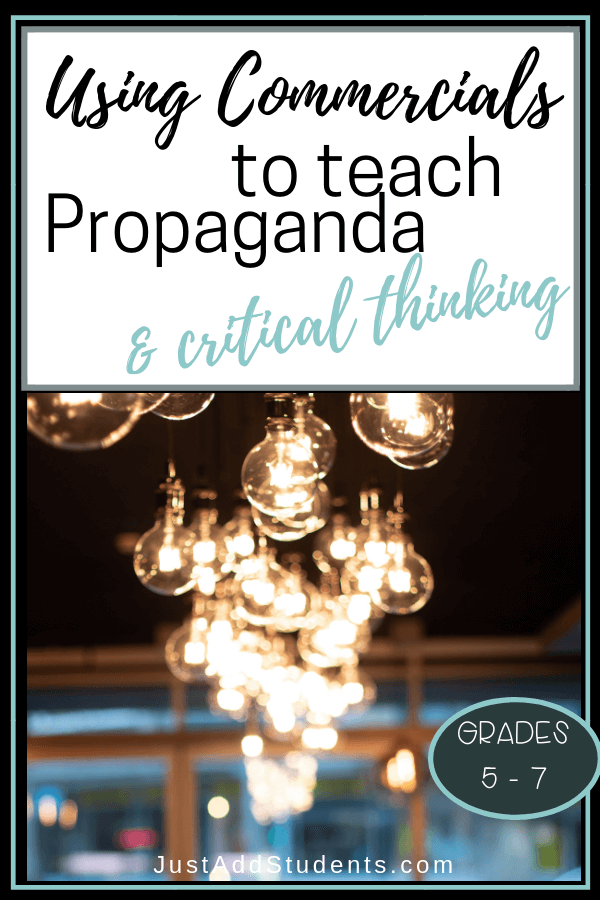 Looking for ways to teach propaganda and critical thinking?  Here are tips for using commercials to get your students started.  Lesson plan included.