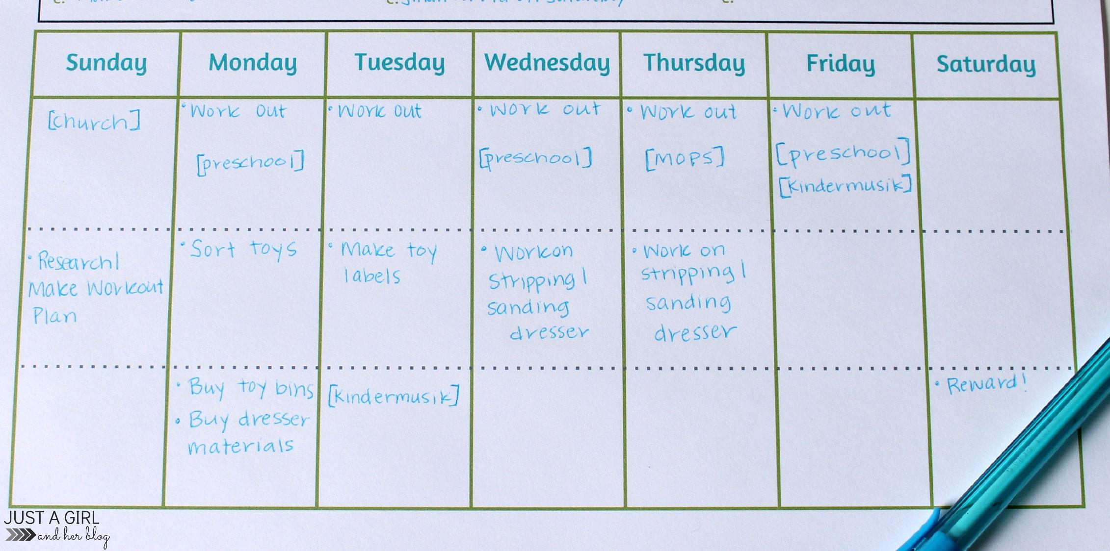 Weekly Goals Printable Free Printable