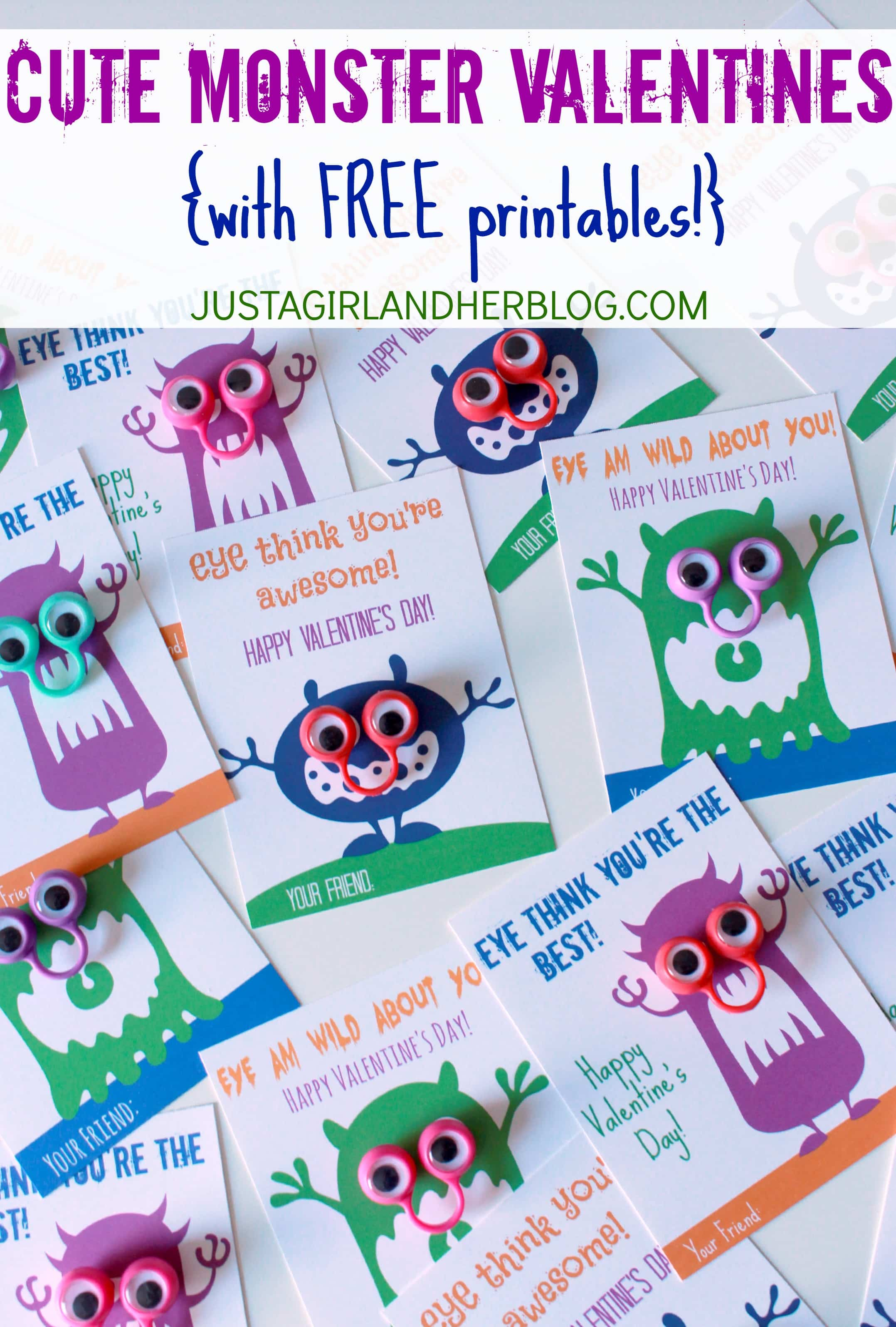 Cute Monster Valentines With Free Printables