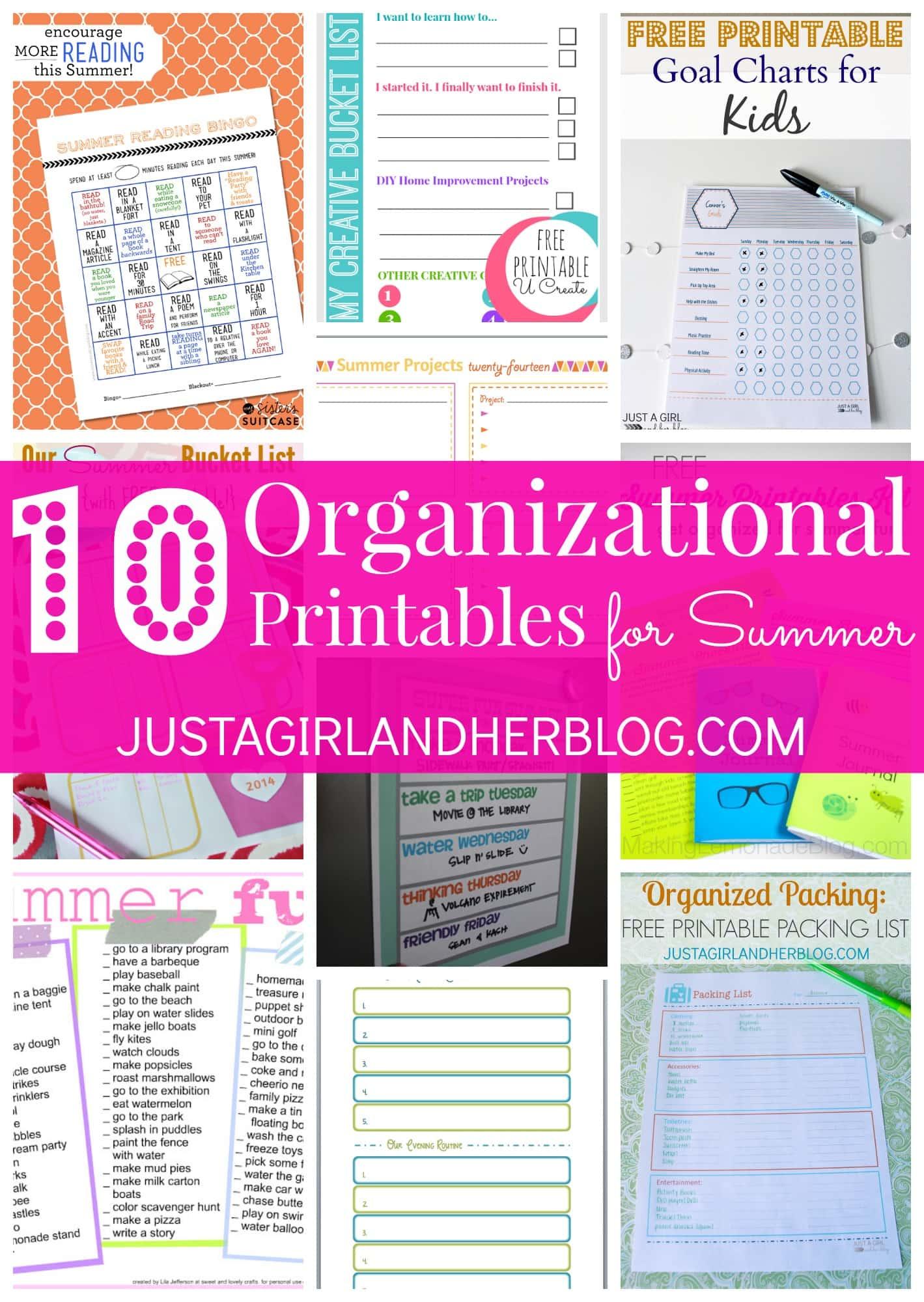 10 Organizational Printables For Summer