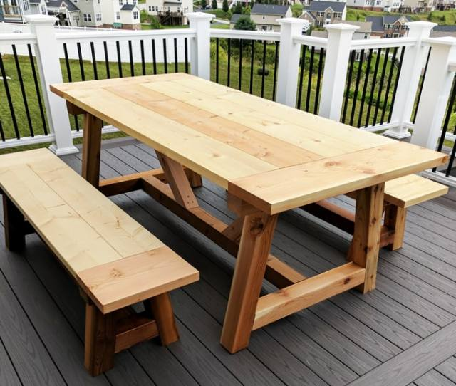 Diy Farmhouse Table Build Truss Beam Table Outdoor Table Woodworking Project