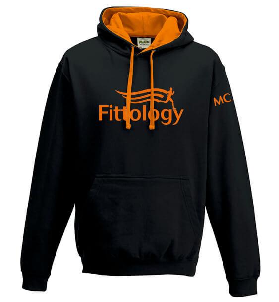 fittology black orange hoodie