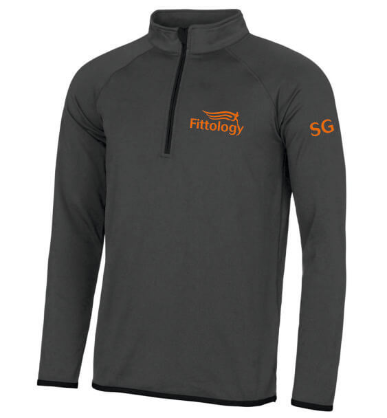 fittology mens zip charcoal