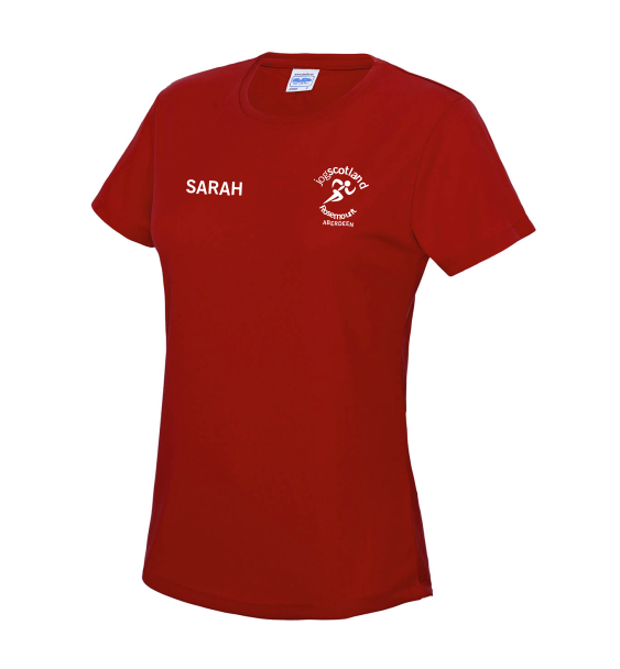 jog scotland ladies tshirt red front