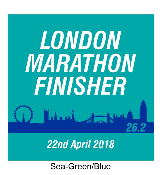london marathon finisher coaster skyline green