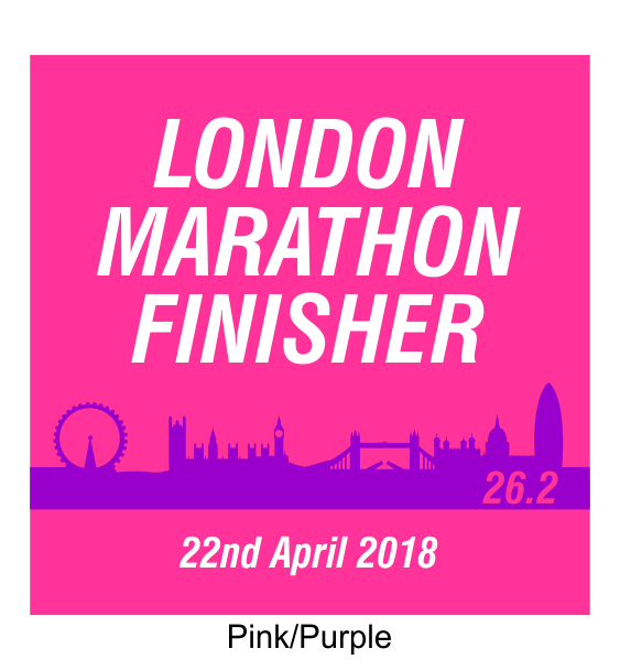 london marathon finisher coaster skyline pink