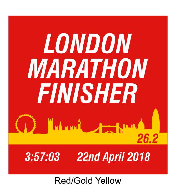london marathon finisher coaster skyline red
