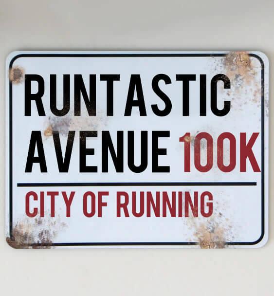 metal street sign running 4