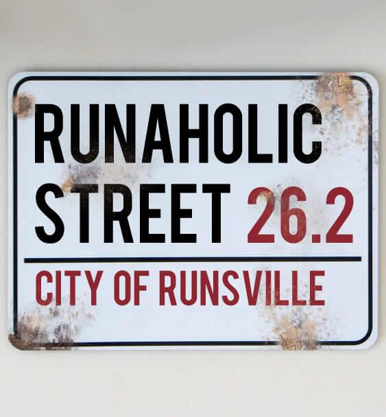 metal street sign running 6