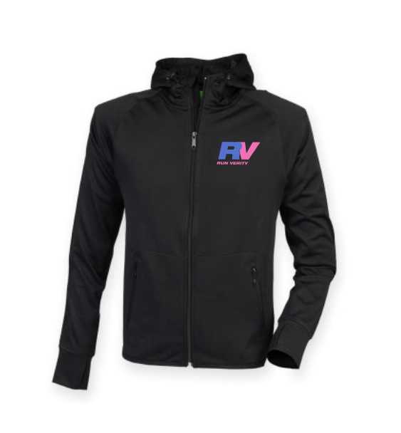 run verity black jacket front