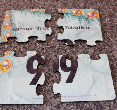 Race number jigsaw coasters