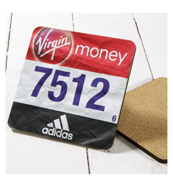 london marathon finisher coaster race number single