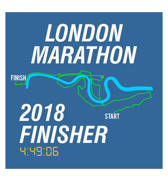 london marathon finisher coaster route blue