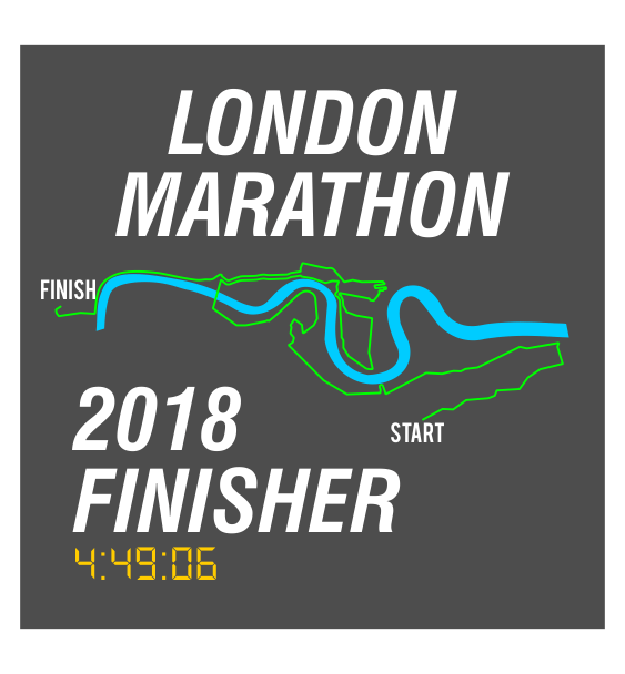 london marathon finisher coaster route grey