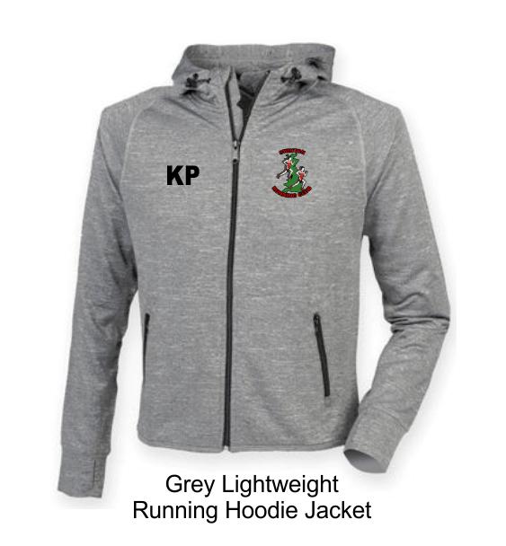 swinton running hoodie jacket grey front