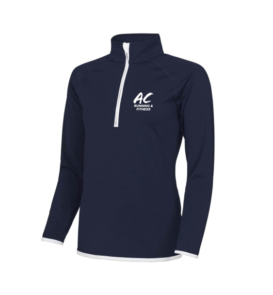 AC running navy zip front
