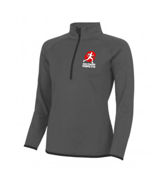 cheltenham running club Ladies .5 zip grey and black