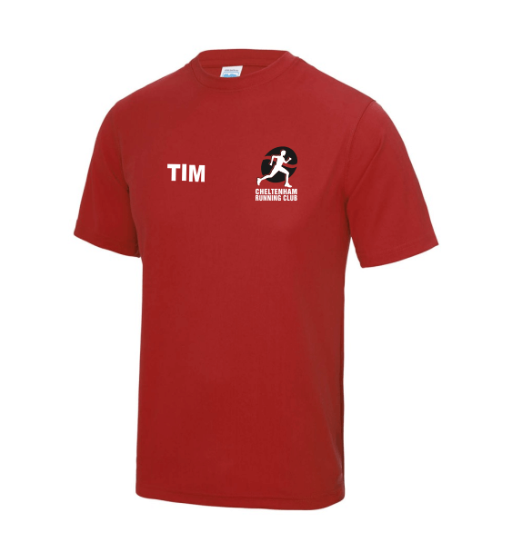 cheltenham running club mens tshirt front red
