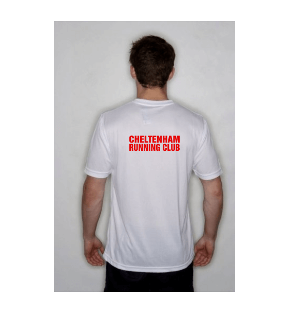 cheltenham running club mens tshirt white back