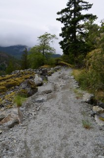 Where water has eroded part of the trail