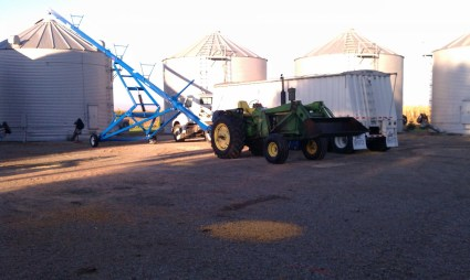 Filling corn bins in 2011