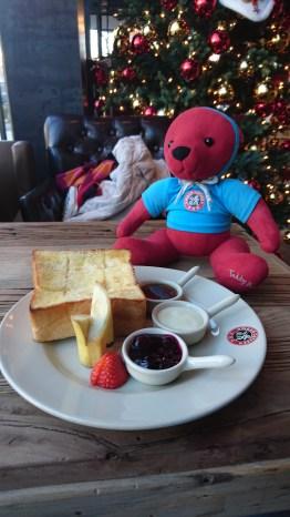 Original toast with a cute teddy bear