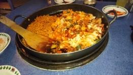 Dak galbi! Spicy but delicious!