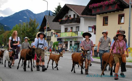 Children and goats in the Almabtrieb parade