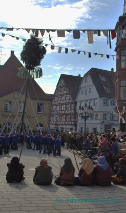 The community comes together to raise the Narrenbaum tp start the Fasching celebrations.