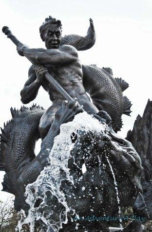 The fountain of the main square in Burglengenfeld.