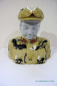 There were several of these lovely busts painted with traditional art all through the Chinese propaganda exhibit.