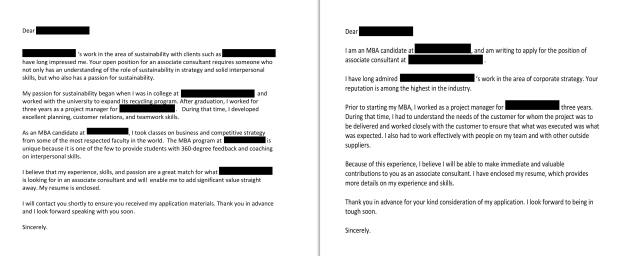 Images of two cover letters for a job application, one written by a real MBA student, the other by artificial intelligence.