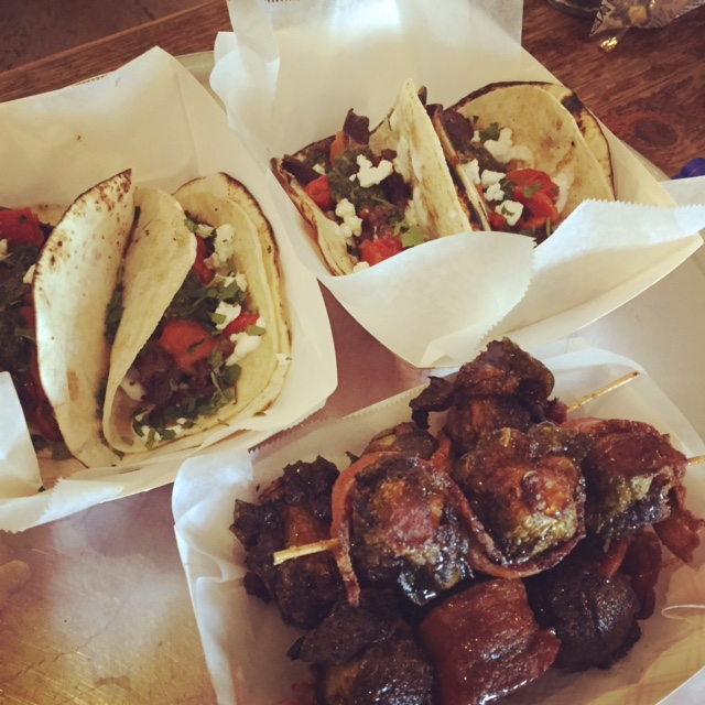 Tacos and Bacon Wrapped Brussels