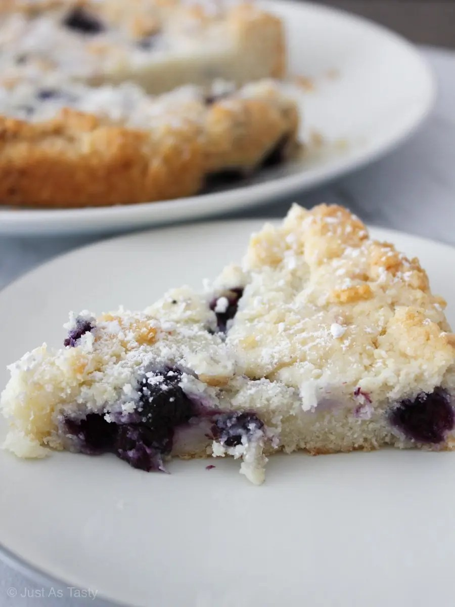 Slice of eggless blueberry cake topped with powdered sugar.