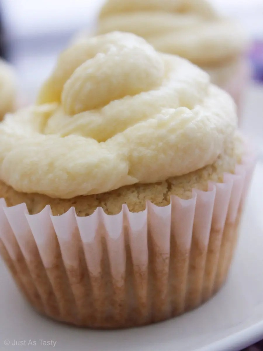 Close-up of cupcake with white swirl frosting