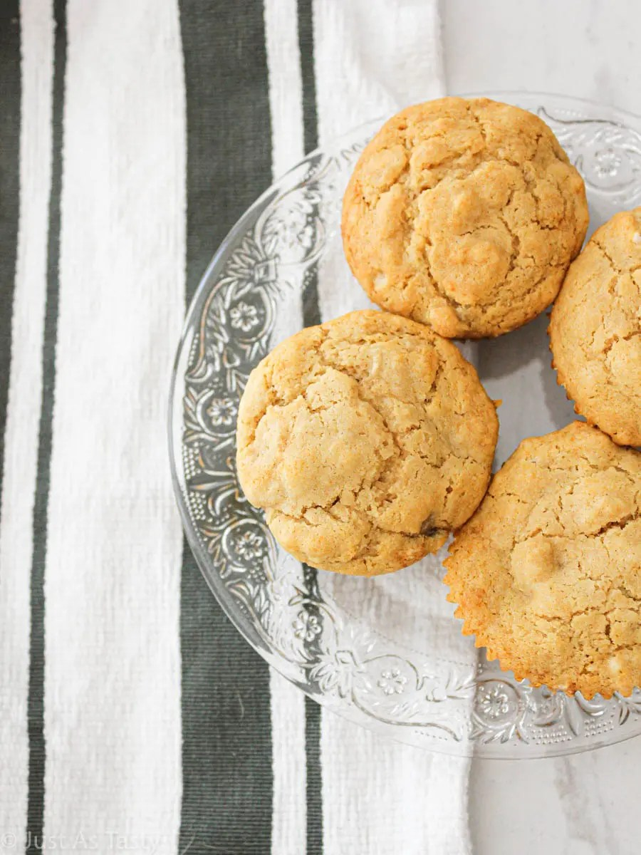 Easy banana muffins on a glass plate.