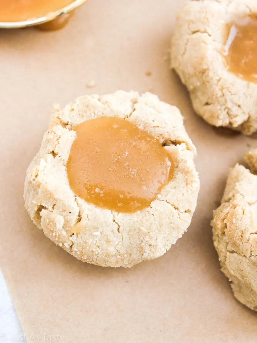 Close-up of salted caramel cookie.